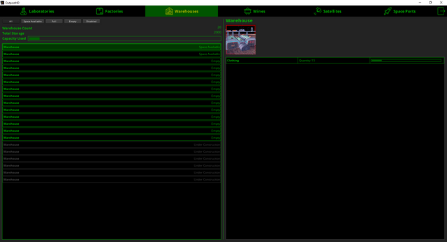 Current implementation of the full screen Warehouse Management Screen.