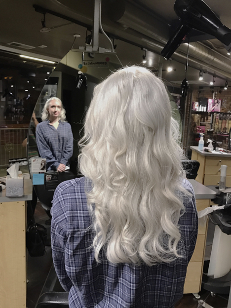Silver hair with beautiful waves