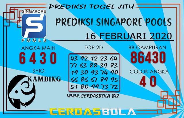 Prediksi Togel SINGAPORE CERDASBOLA 16 FEBRUARI 2020