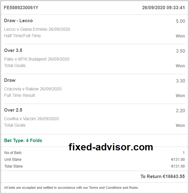 Big Odds Fixed Matches