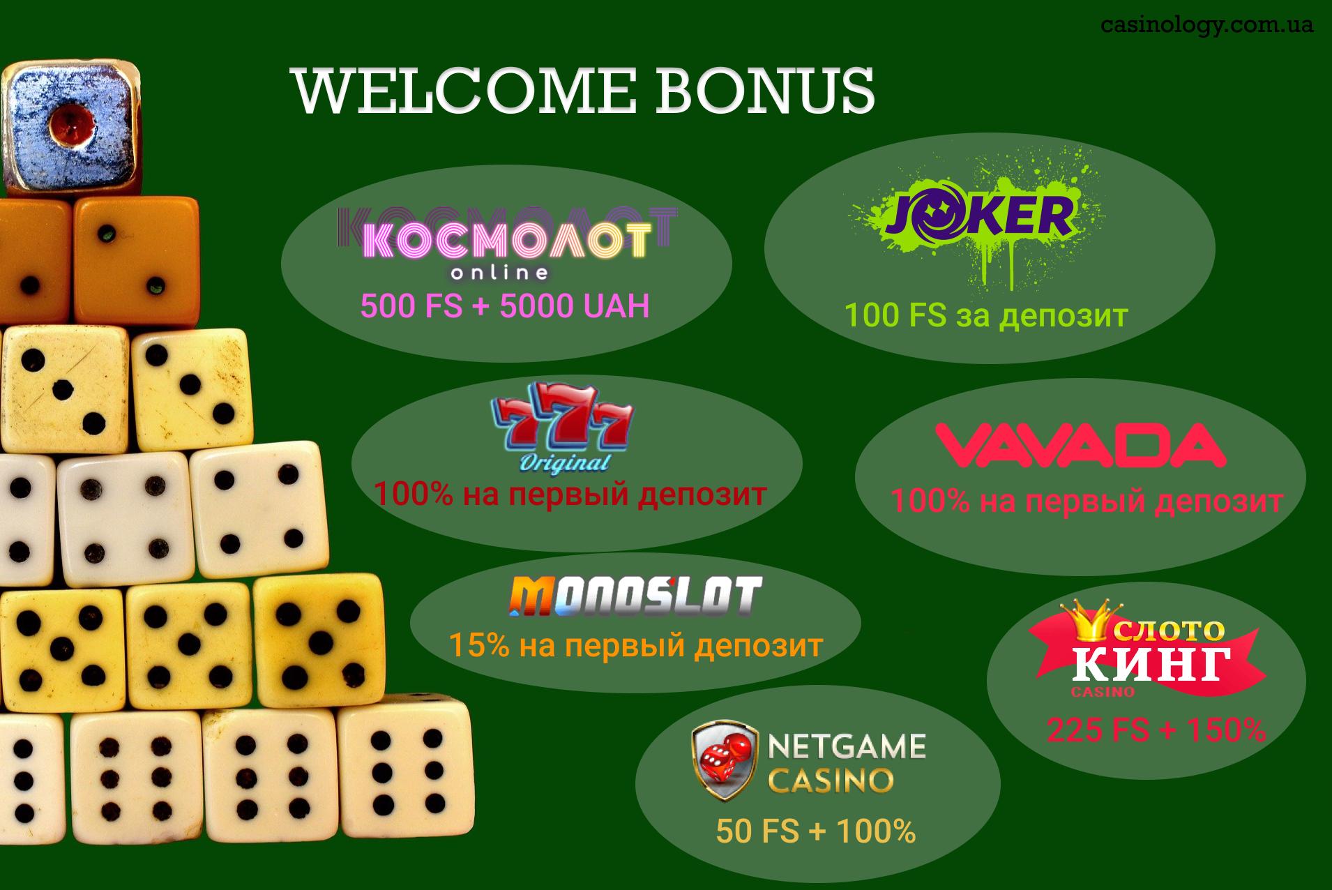 Обширный выбор приветственных бонусов на Casinology
