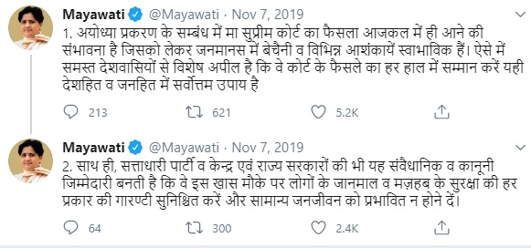 Mayawati tweet on Ayodhya Case