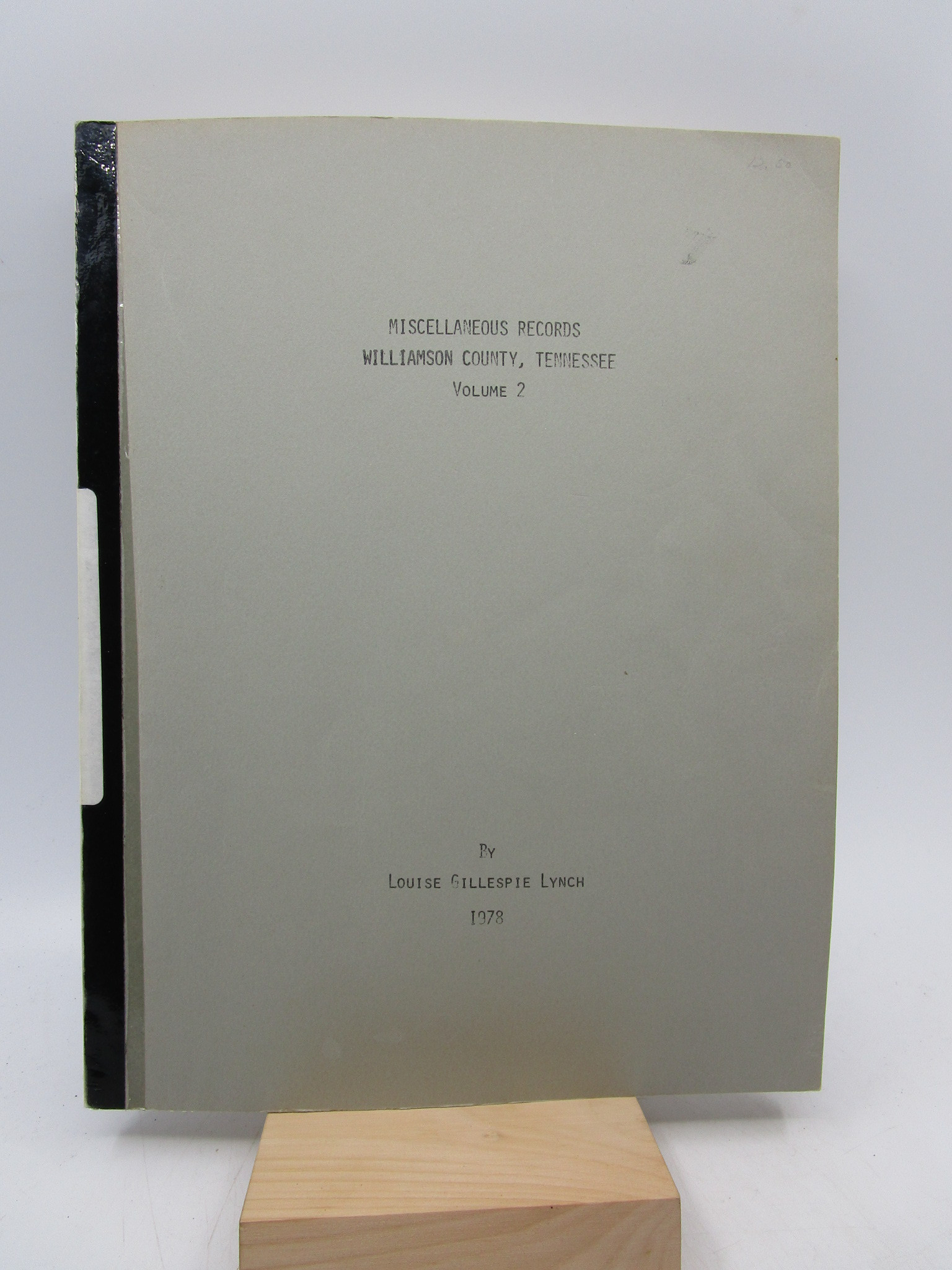 Image for Miscellaneous Records - Williamson County, Tennessee (Volume 2)