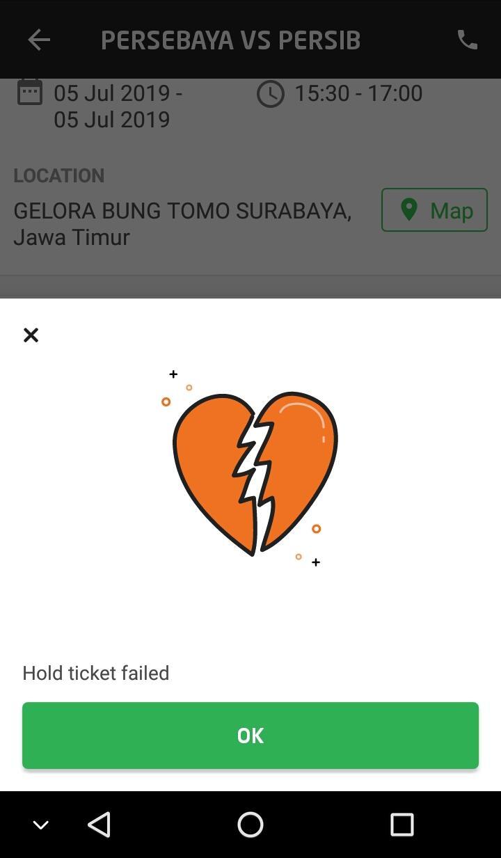 Hasil tangkap layar persediaan tiket Persebaya vs Persib, Jumat (5/7/2019).