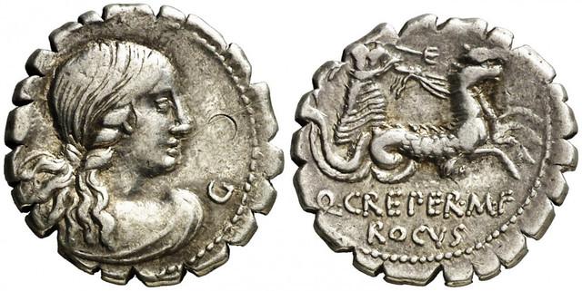 Denario de la gens Crepereia. Q. CREPEREI - ROCVS. Neptuno en una biga tirada por hipocampos. Roma.  2qar61h