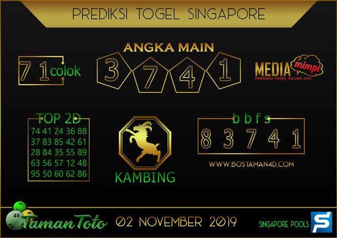 Prediksi Togel SINGAPORE TAMAN TOTO 02 NOVEMBER 2019