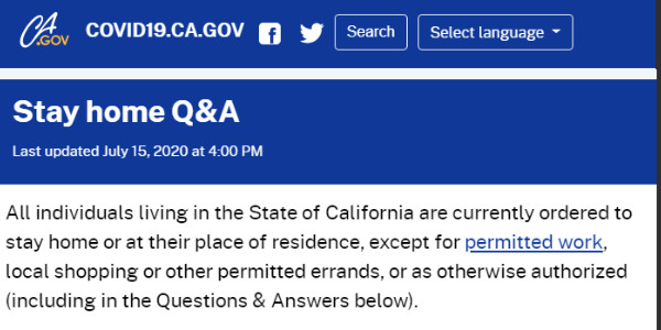 California orders everyone to stay home, except for work, shopping, and running some errands. Places of worship are also ordered to stay closed..