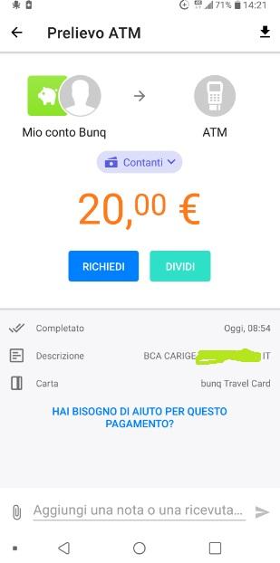 Bunq! 3 Bellissime carte +Bonifici Istantanei e 25 IBAN usa e getta INCLUSI + PROMO 10,00 € DI APERTURA 2019-Set-18-Prelievo5