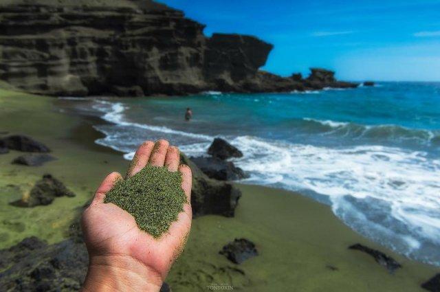 Зеленый песок на Гавайских островах