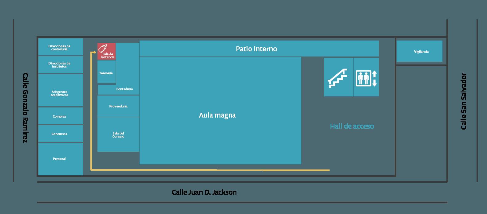 Plano de ubicación de la sala de lactancia de la FIC.
