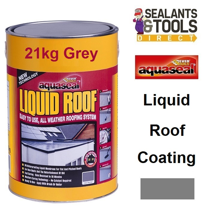 Everbuild Aquaseal Liquid Roof System 21Kg Grey AQLIQRFGY21