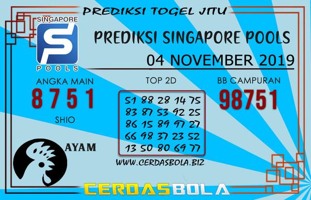 """Prediksi Togel """"SINGAPORE"""" CERDASBOLA 04 NOVEMBER 2019"""