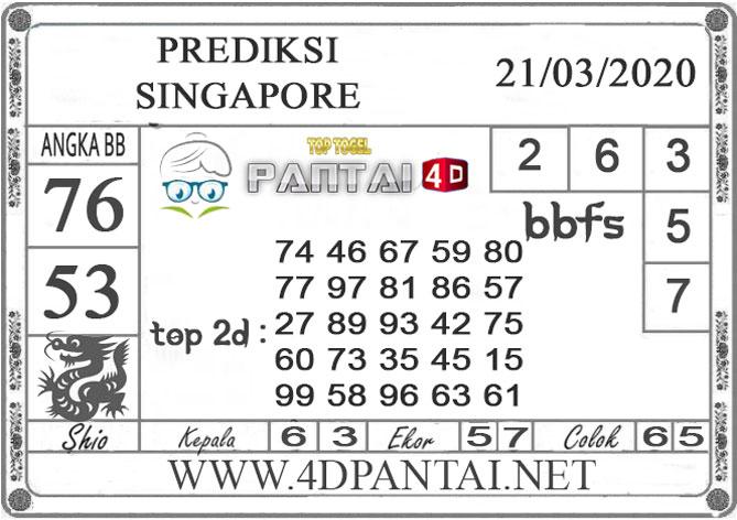 PREDIKSI TOGEL SINGAPORE PANTAI4D 21 MARET 2020