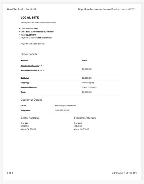 将打印回执添加到WooCommerce订单接收页和查看订单页