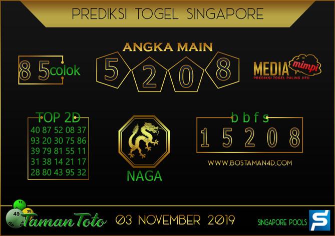Prediksi Togel SINGAPORE TAMAN TOTO 03 NOVEMBER 2019