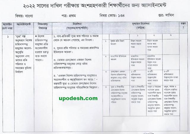 Dakhil-1st-Week-Bangla-Assignment