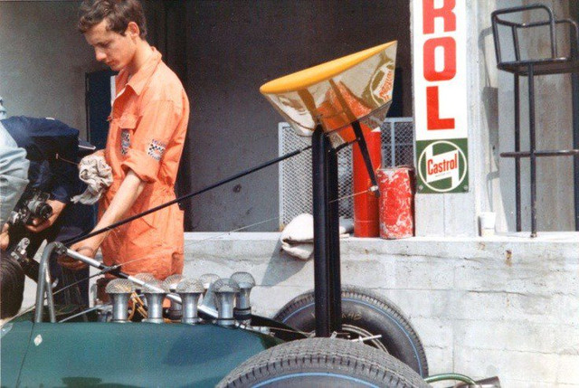 A young Ron Dennis 21 working in the Brabham BT26 at Monza in 1968.jpg