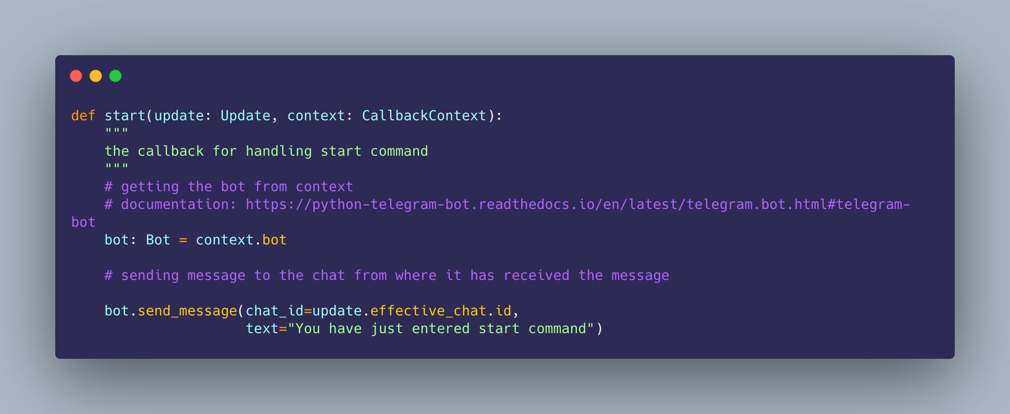 Telegram bot message sending using python