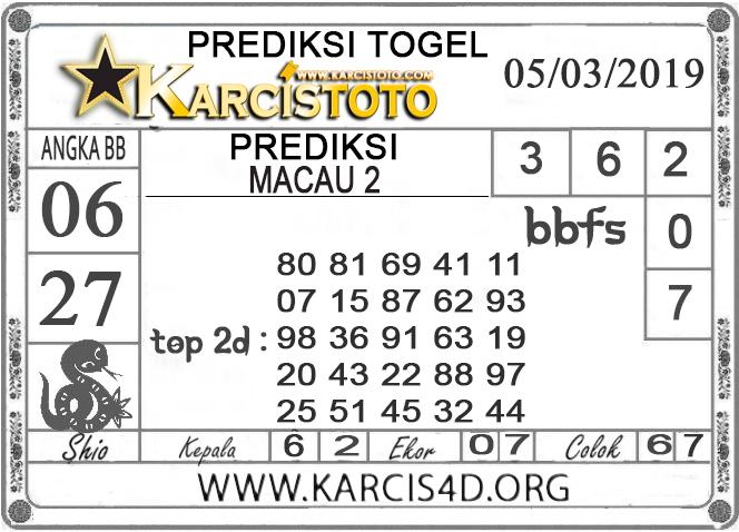 Prediksi Togel MACAU 2 KARCISTOTO 05 MARET 2019