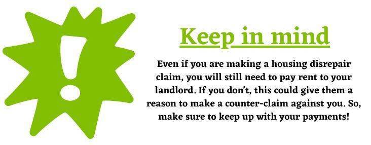 housing disrepair claim rent help