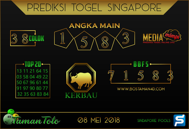 Prediksi Togel SINGAPORE TAMAN TOTO 08 MEI 2019