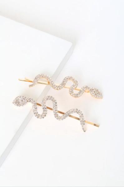 Lulu's Big Reputation Gold Rhinestone Snake Hair Pins -hair-accessory
