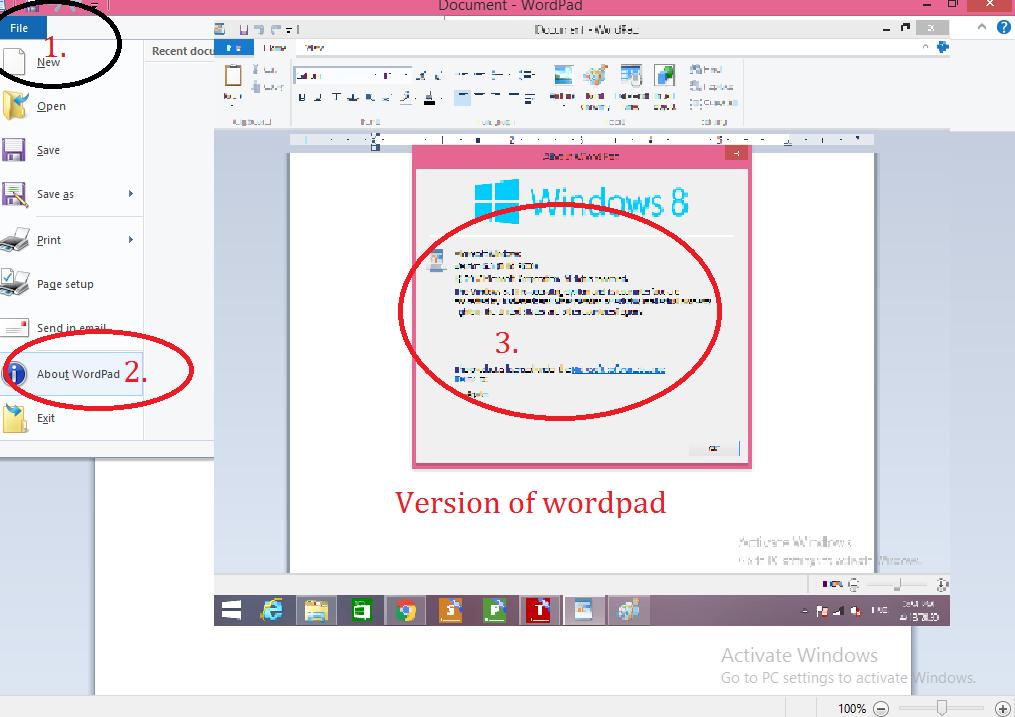 Worpad Version in windows 8.1