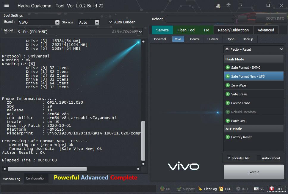 Vivo S1 Pro (PD1945F) Zero wipe successfully done by Hydra Tool