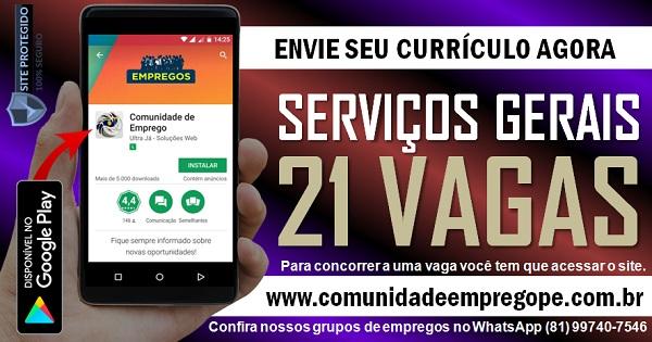 AUXILIAR DE SERVIÇOS GERAIS, 21 VAGAS PARA EMPRESA DE TERCEIRIZAÇÃO