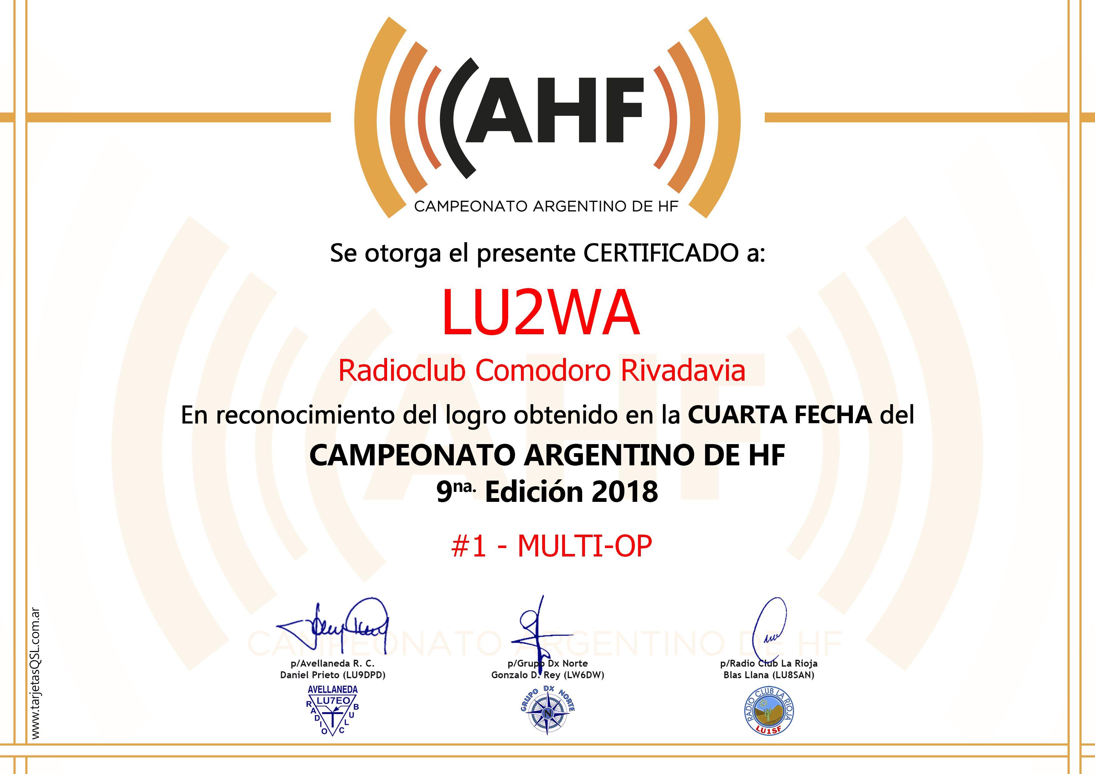 2019 09 03 lu2wa cahf 4ta certificado - Resultados 4ta. Fecha CAHF 2018