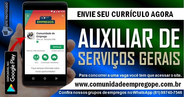 AUXILIAR DE SERVIÇOS GERAIS – LIMPEZA COM SALÁRIO DE  R$ 1066,00 PARA SERVIÇOS TEMPORÁRIO