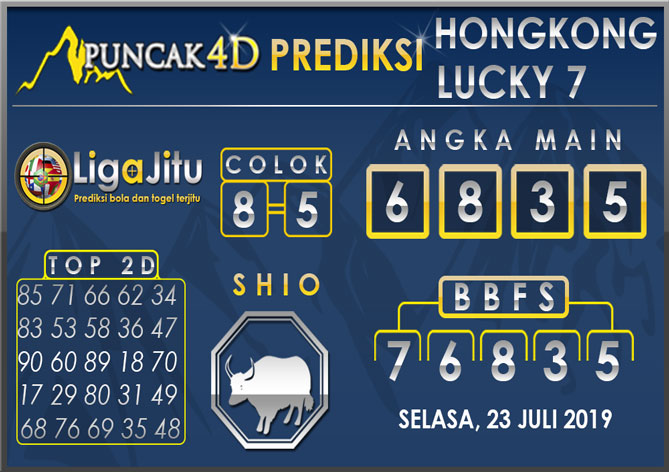 PREDIKSI TOGEL HONGKONG LUCKY7 PUNCAK4D 23 JULI 2019
