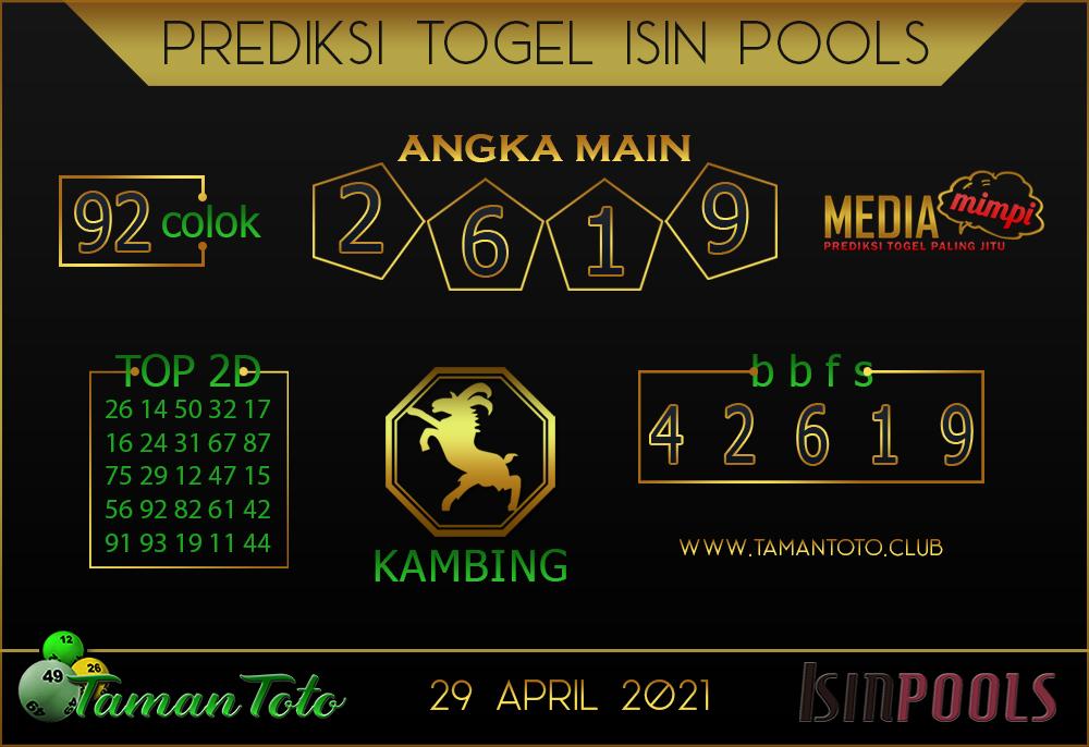 Prediksi Togel ISIN TAMAN TOTO 29 APRIL 2021
