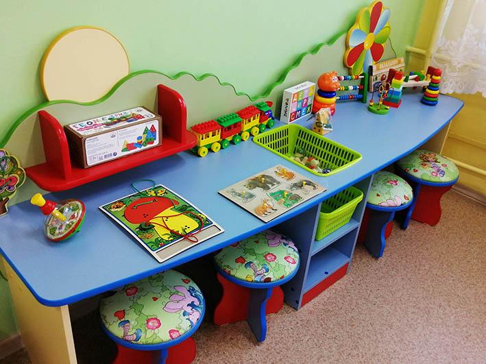 Мебель и игрушки изготовлены из материалов, устойчивых к частому мытью