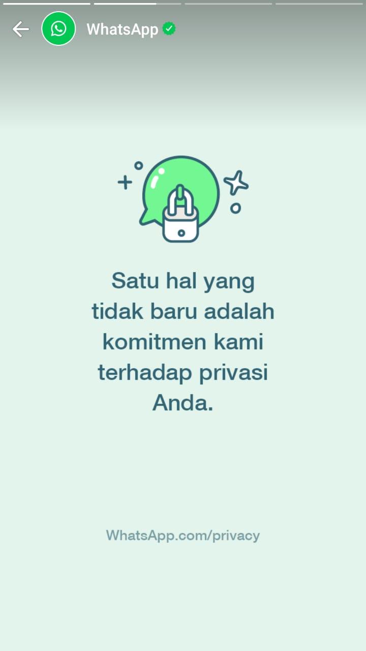 Slide kedua update status dari WhatsApp