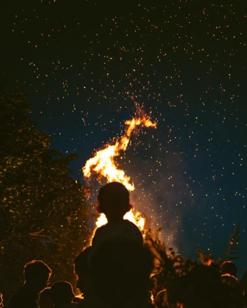 An image of a summer solstice bonfire.