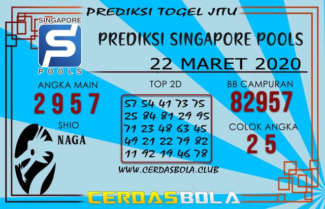 Prediksi Togel SINGAPORE CERDASBOLA 22 MARET 2020