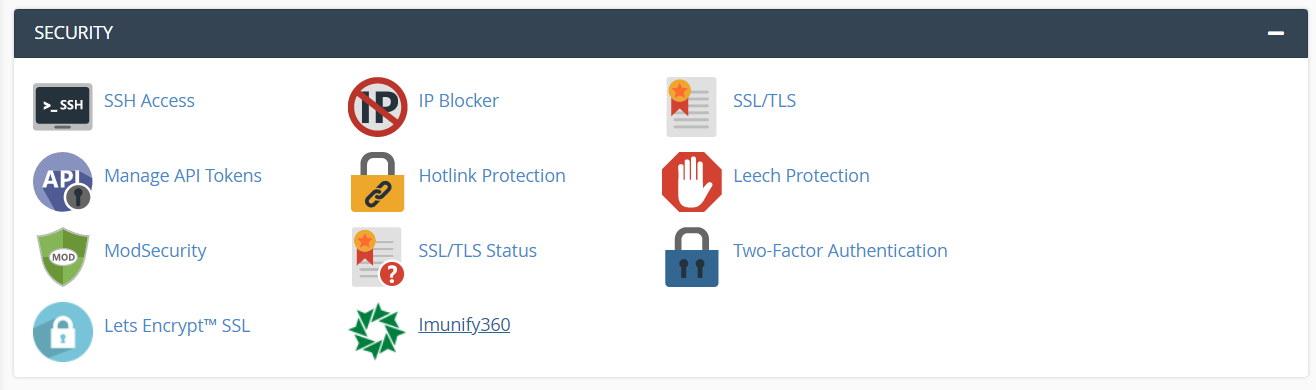 Security section of cPanel dashboard