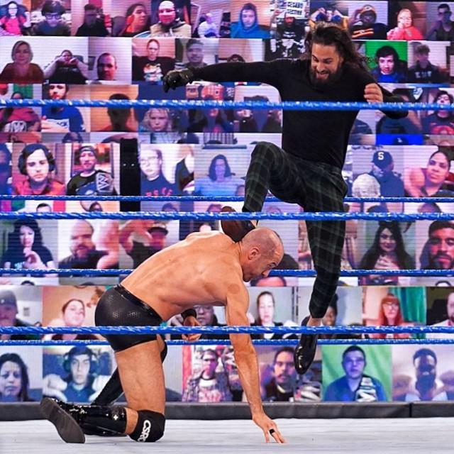 Seth Rollins ataca a Cesaro SmackDOwn 12 Marzo
