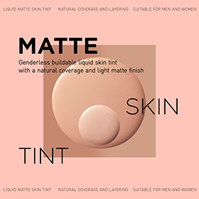 Liquid skin tint with a natural coverage and a matte finish. Suitable for layering for additional coverage.