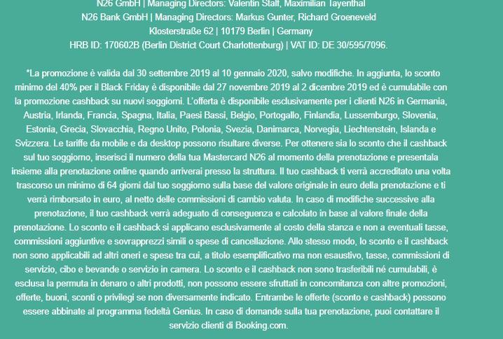 N26 10% Cashback di STATO + 5,00€+ addio spese su acquisti all'estero + Scegli PIN Carta! [Senza scadenza] - Pagina 2 Booking-N26-4