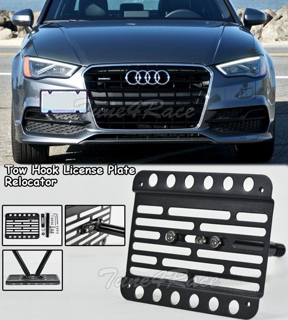 For 15 Up Audi A3 15 17 S3 Front Tow Hook License Plate Relocator Bracket Sedan Ebay
