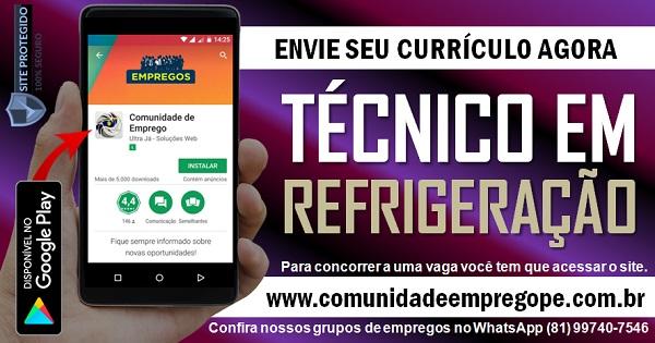 TÉCNICO EM REFRIGERAÇÃO COM SALÁRIO DE R$ 1600,00 PARA EMPRESA NO RECIFE