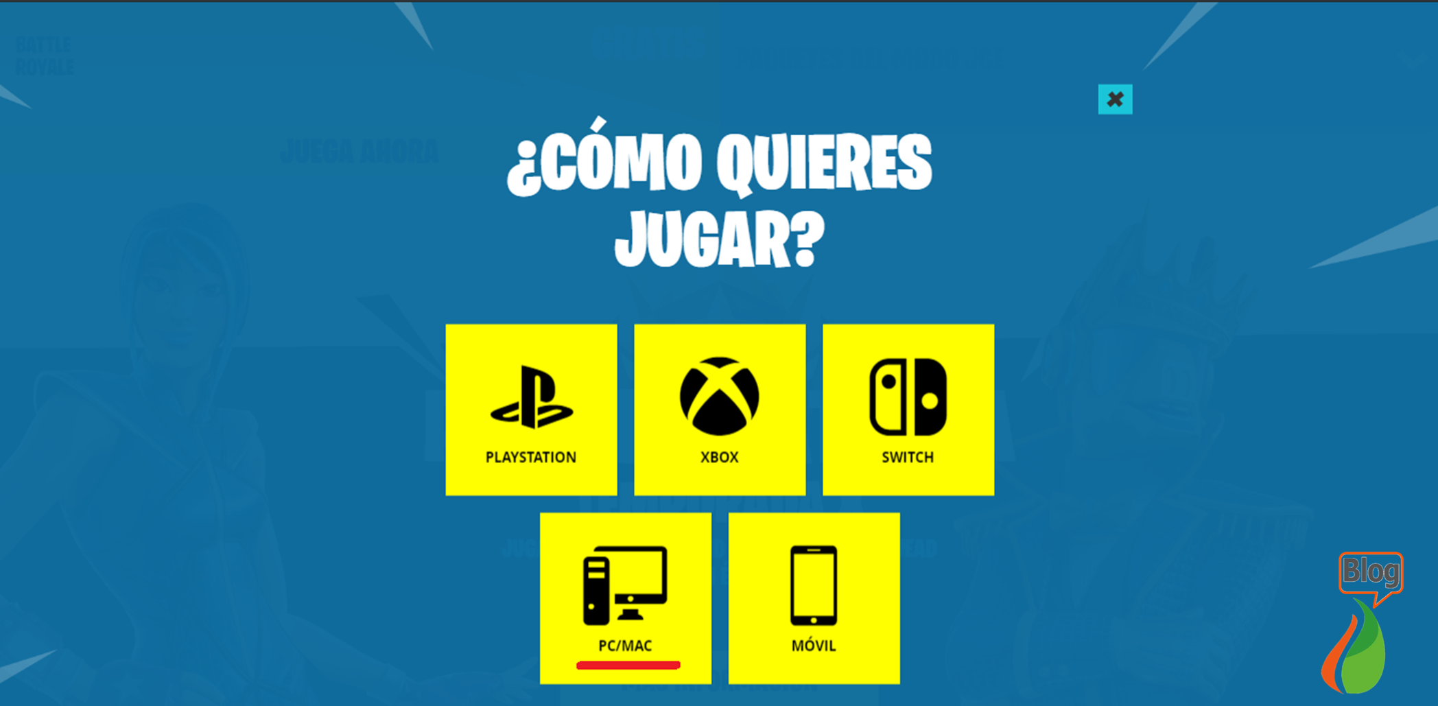 Jugar Fortnite gratis en PC/Mac