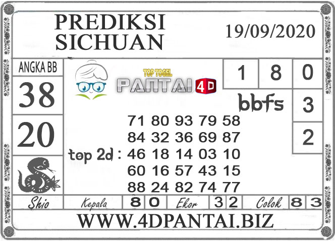 PREDIKSI TOGEL SICHUAN PANTAI4D 19 SEPTEMBER 2020