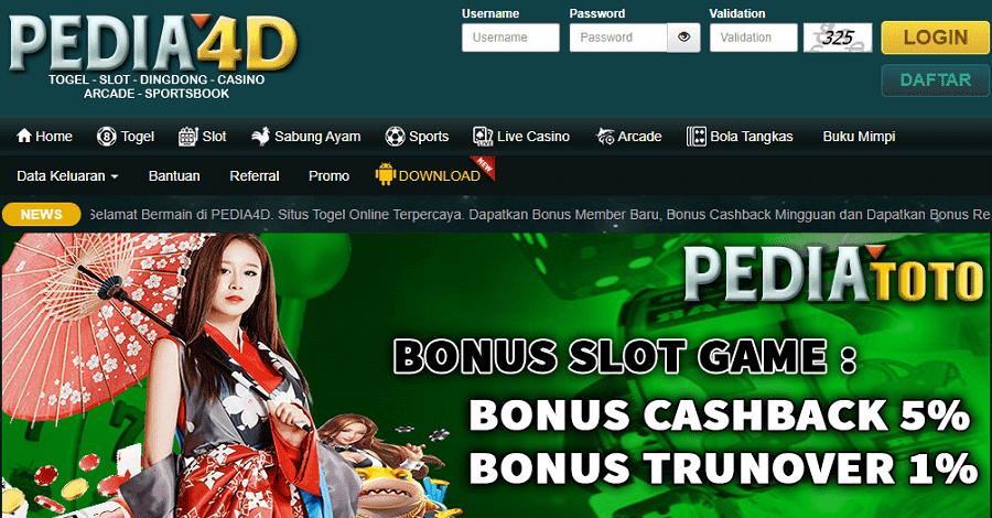 Tampilan Pedia4D Slot Terbaru