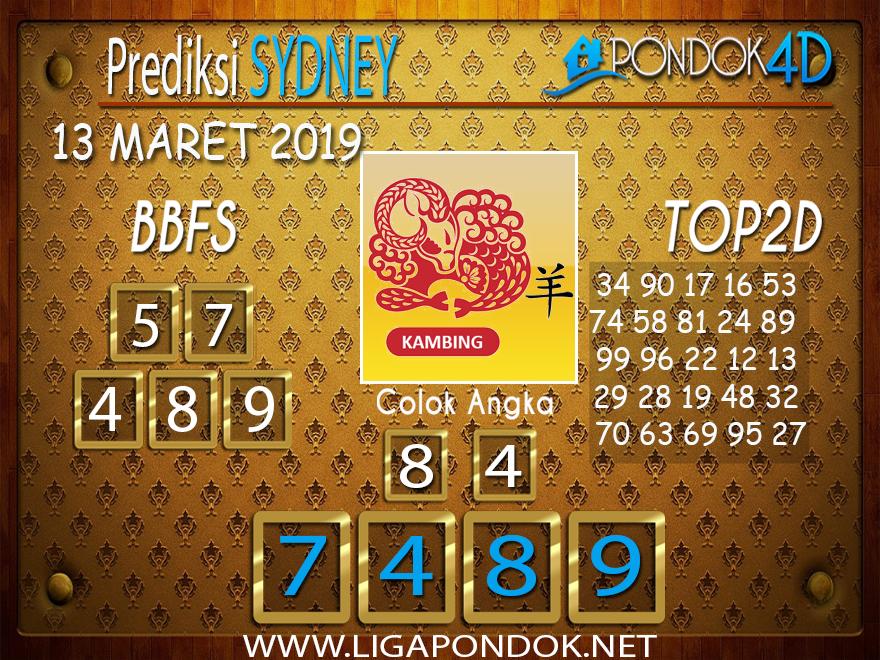 Prediksi Togel SYDNEY  PONDOK4D 13 MARET 2019