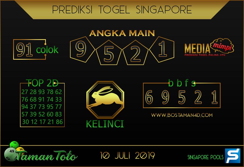 Prediksi Togel SINGAPORE TAMAN TOTO 10 JULI 2019