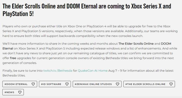Bethesda宣佈《上古卷軸Online》與《毀滅戰士 永恆》將在PS5與Xbox Series X主機上推出強化版 Image